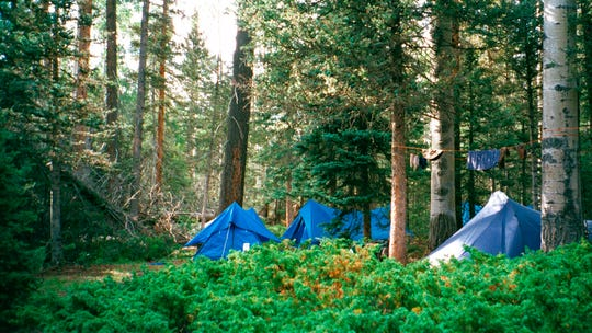 In this July 2001 file photo, a campsite setup off the trail to the summit of the second highest peak in Philmont Scout Ranch, N.M., is shown.  The ranch has been mortgaged by the BSA, according to board members.