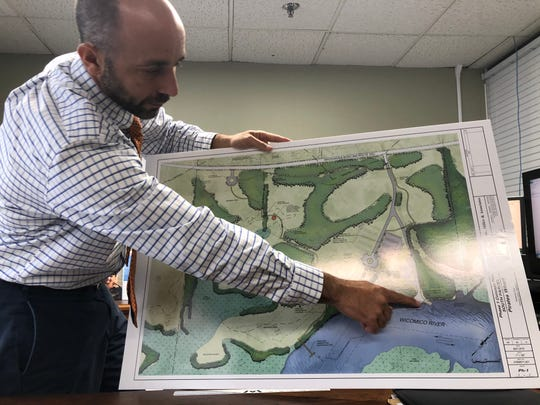 Wicomico County Recreation, Parks & Tourism Director Steve Miller points to the water access and boat ramp set to take shape at Pirate's Wharf, as he shares the project's plans in his office in Salisbury, Maryland, on No. 22, 2019.