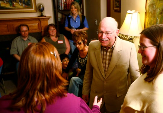 Kermit Staggers thanks his supporters at his home on election night in Sioux Falls, S.D., Tuesday, April 13, 2010.(Devin Wagner/Argus Leader)
