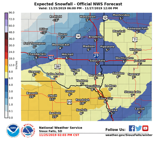 Expected snowfall for the Sioux Falls area on Tuesday night into Wednesday morning.