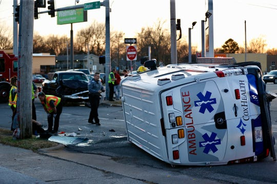 An ambulance was damaged Monday in a crash at Grand Street and Campbell Avenue in Springfield.