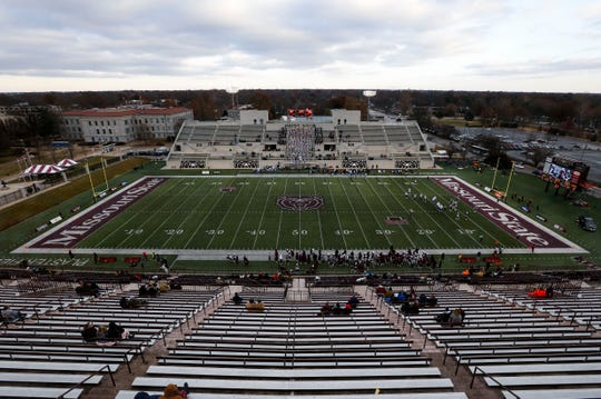 Nearly empty stands at Plaster Stadium during the second half of the Missouri State Bears game against the Indiana State Sycamores on Saturday, Nov. 23, 2019.