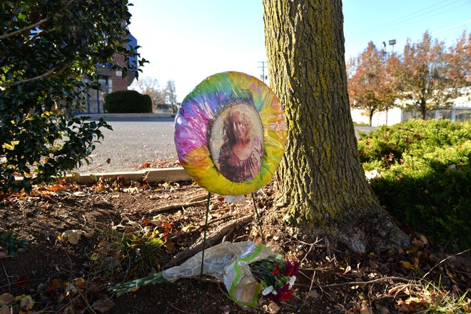 A memorial for Jennifer Higgs has been set up near the location she died across the street from Valley Mission, photographed Nov. 25, 2019.