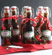 Homemade vanilla extract is made with brandy and vanilla beans.