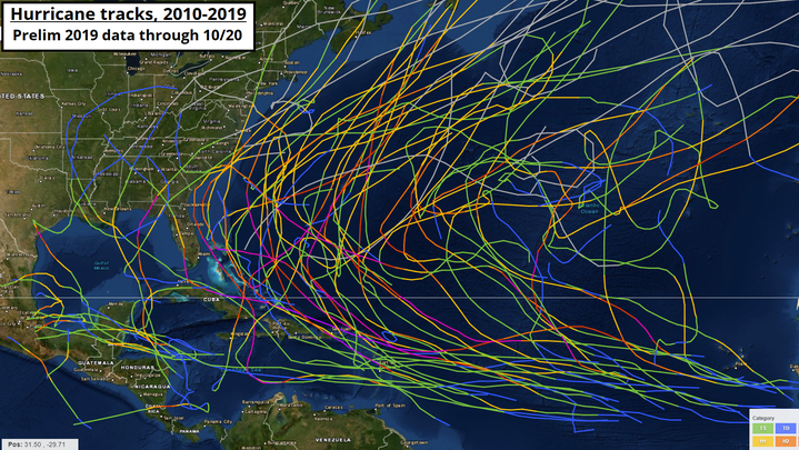 This is what you get when you plot all 72 Atlantic hurricane tracks of the 2010s together.