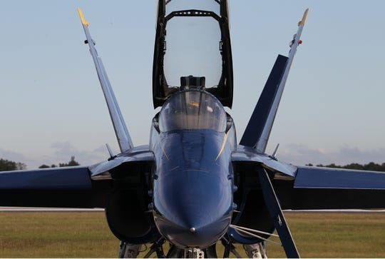 The Blue Angels F/A-18 Hornet crew arrives at the Vero Beach Regional Airport on Monday, Nov. 25, 2019, for a meeting with airport officials ahead of next year's Vero Beach Air Show.