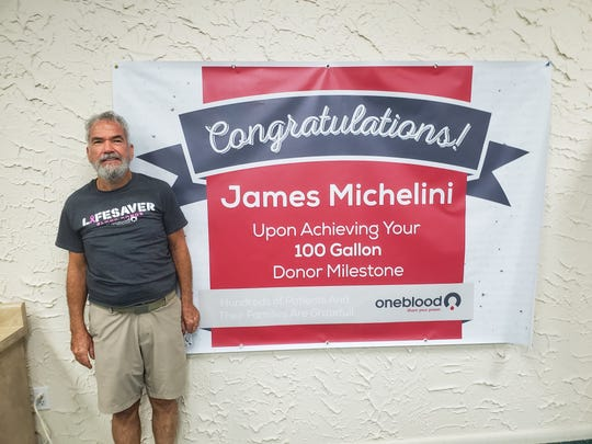 James Michelini, 73, of Port St. Lucie, has donated 100 gallons of blood and platelets over the last 45 years. He's the second person to reach this milestone at OneBlood's donation center in Stuart.