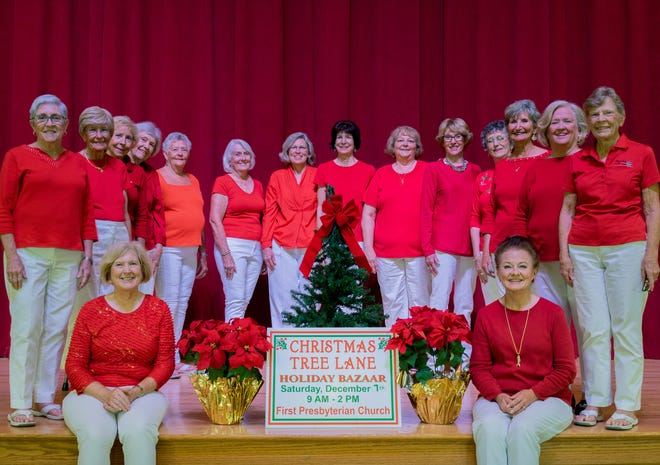 Christmas Tree Lane Co-Chairs Joan Irvine and Maggie Fleming, seated, with Committee Heads, from left, Marsha Forest, Jerri Ives, Susan Foster, Frances Archibald, Pat Wempe, Darol Keefer, Eileen Kennedy, Susan McGarry, Deb Alich, Floy Turner, Shirley Douglas, Barbara Schwin, Susan Groom, and Sue Coffey.