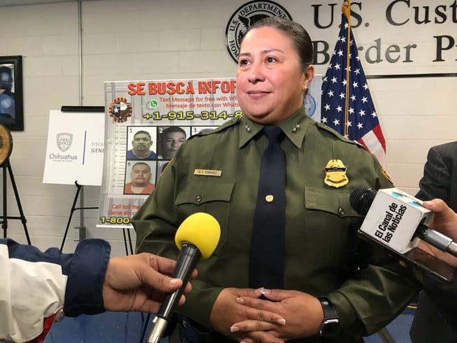 "Border Patrol El Paso Sector interim Chief Gloria Chavez announces the Department of Homeland Security's ""Se Busca,"" or ""Most Wanted,"" initiative in El Paso on Monday, Nov. 25, 2019."