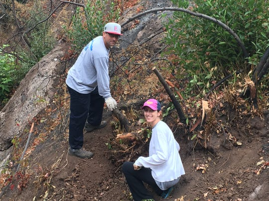 Anzac and Sarah Jacobs work to help build an Ojai trail that was named for their father.