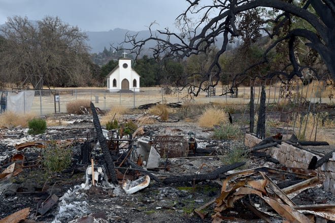 Though several Western-themed buildings at Paramount Ranch were destroyed by the Woolsey Fire, a small chapel was one of two structures that were spared from the blaze.