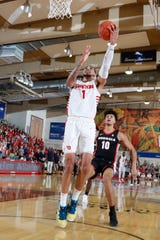 Nov 25, 2019; Lahaina, HI, USA; Dayton Flyers forward Obadiah Toppin (1) takes a shot against the Georgia Bulldogs during the first half of the first day of the Maui Jim Maui Invitational at the Lahaina Civic Center. Mandatory Credit: Brian Spurlock-USA TODAY Sports