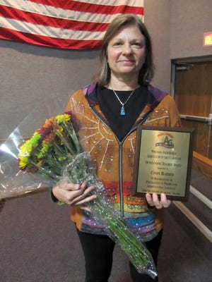Cindy Barber, a fifth-sixth grade teacher at Random Lake Middle School received this year's Wisconsin Farm Bureau Ag in the Classroom Outstanding Teacher award.