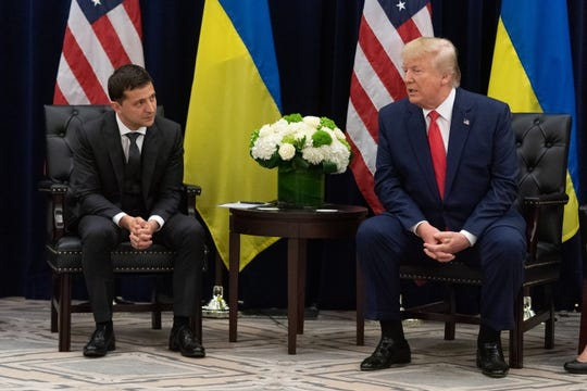 Ukrainian President Volodymyr Zelensky and President Donald Trump in New York on Sept. 25, 2019.