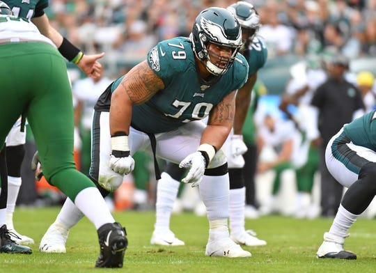Oct 6, 2019; Philadelphia, PA, USA; Philadelphia Eagles offensive guard Brandon Brooks (79) against the New York Jets at Lincoln Financial Field. Mandatory Credit: Eric Hartline-USA TODAY Sports