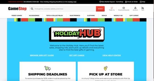 Screengrab of GameStop's Holiday Hub website
