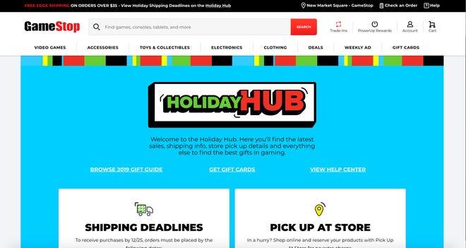 Screengrab of GameStop's Holiday Hub website