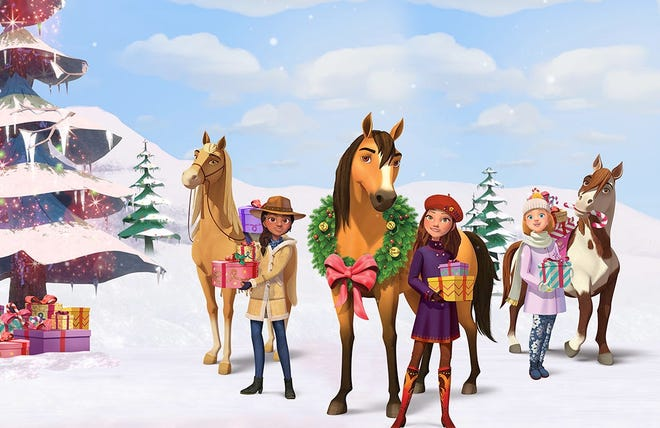 """A falling boulder may prevent Lucky from getting home in time for Christmas. Watch this """"Spirit"""" holiday special starting Dec. 6."""
