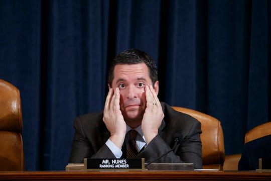 Ranking member Rep. Devin Nunes listens to Ambassador Kurt Volker testify before the House Permanent Select Committee on Intelligence on Nov. 19, 2019.