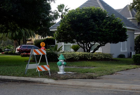 A new fire hydrant was installed in front  of Tiger Woods' home in the Isleworth community in Windermere, Florida.