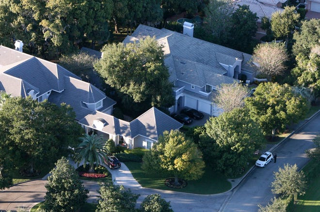 An aerial view of Tiger Woods' house, left, in Windermere, Florida, on Nov. 27, 2009.