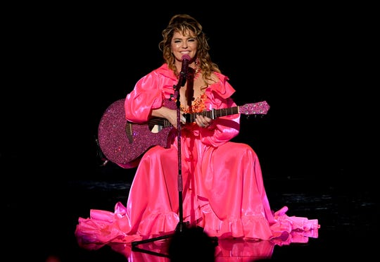 Shania Twain performs onstage during the 2019 American Music Awards.
