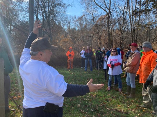 Edward Parze speaks to a group of volunteers before a search at Durand Park in Freehold Township for his missing 25-year-old daughter, Stephanie Parze on Nov. 26, 2019