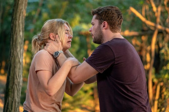 "Florence Pugh and Jack Reynor in a scene from ""Midsommar."""