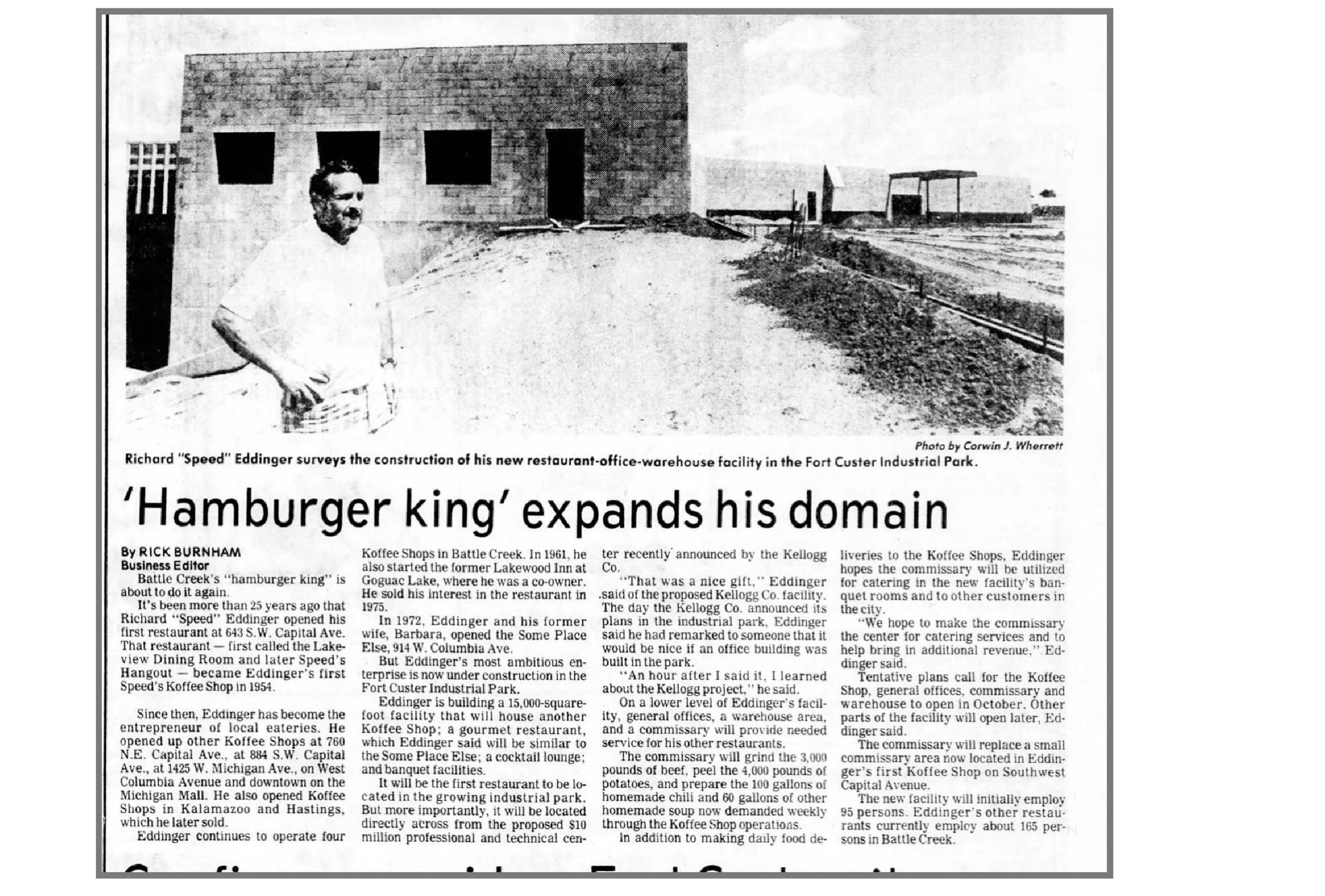 An article in the July 20, 1980 edition of the Battle Creek Enquirer on further expansion by Speed's Inc.