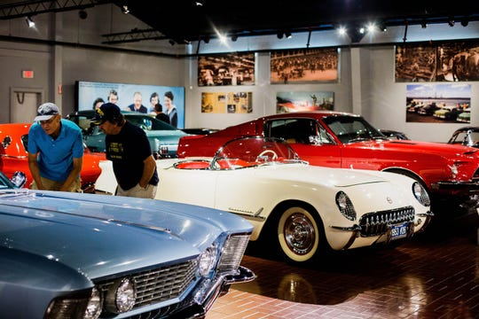 Museumgoers check out cars in the 1950s/1960s Gallery at the Gilmore Car Museum on Aug. 4, 2017.