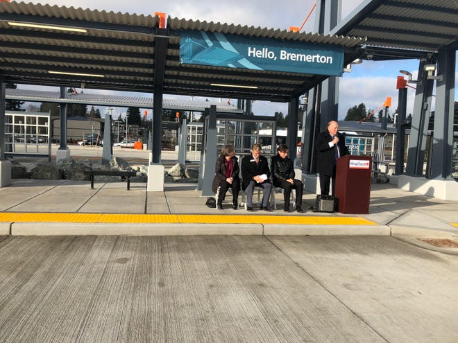 Kitsap Transit Executive Director John Clauson speaks at a grand opening event for the Wheaton Way Transit Center on Monday.