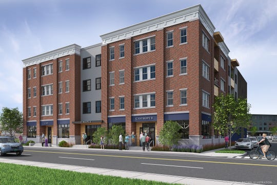 """A new wood-fired pizza restaurant is planned for the ground floor of this 30-unit apartment building at 3 Maple Street in Essex Junction — part of the new """"Chittenden Crossing"""" development at Five Corners. This building is scheduled for completion in early 2021. Architect: G4 Design Studios. Rendering: Lincoln Brown Illustration (Nov. 5, 2018)."""