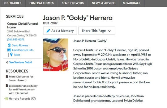 A screenshot shows an obituary for Jason Herrera, 36. Herrera was fatally shot on Sherman Street on Sept. 9, 2019.