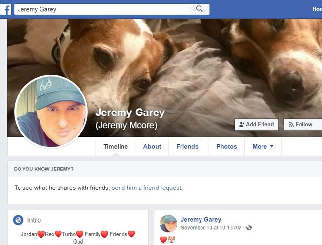 Screenshot from Jeremy Garey's Facebook page.