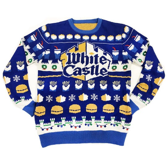 "Highlighting White Castle's first-ever Holiday Gift Guide is the brand new ""Ugly Sweater,"" available now on White Castle's House of Crave online shop."