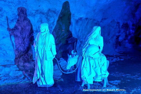The Christmas Caves in Minford, OH depict the scenes surrounding the birth of Jesus.