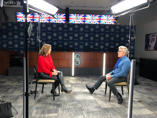 Tonya O'Rourke of WCPO-TV interviews Roger Daltrey of The Who.
