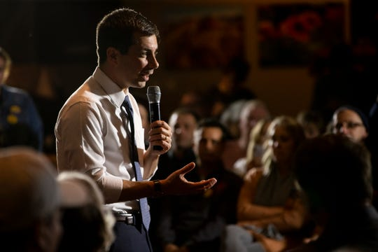 South Bend Indiana Mayor and 2020 Democratic presidential candidate Pete Buttigieg speaks during a campaign event at Cronk's Cafe on Tuesday, Nov. 26, 2019, in Denison.