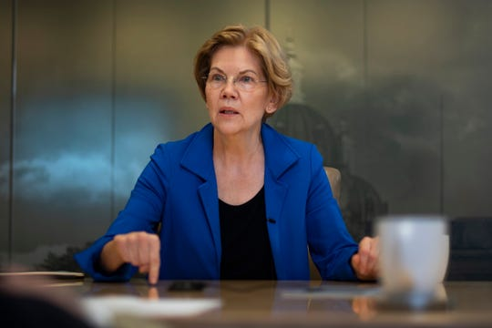 2020 presidential candidate and U.S. Sen. Elizabeth Warren (D-Mass.) meets with the Register's editorial board on Nov. 26, 2019.