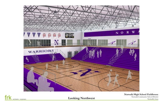 Norwalk's new physical education and competition center will contain a gym that will be able to seat 1,800 visitors.