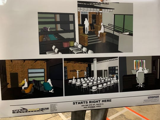 "A rendering of the proposed activities to fill the ""Starts Right Here"" building at 445 SW Fifth St. in Des Moines. Starts Right Here is a nonprofit meant to service at-risk youth in the Des Moines metro. It's leaders plan to have a recording studio, classrooms and lounge areas, among other things, inside the facility within the next year."