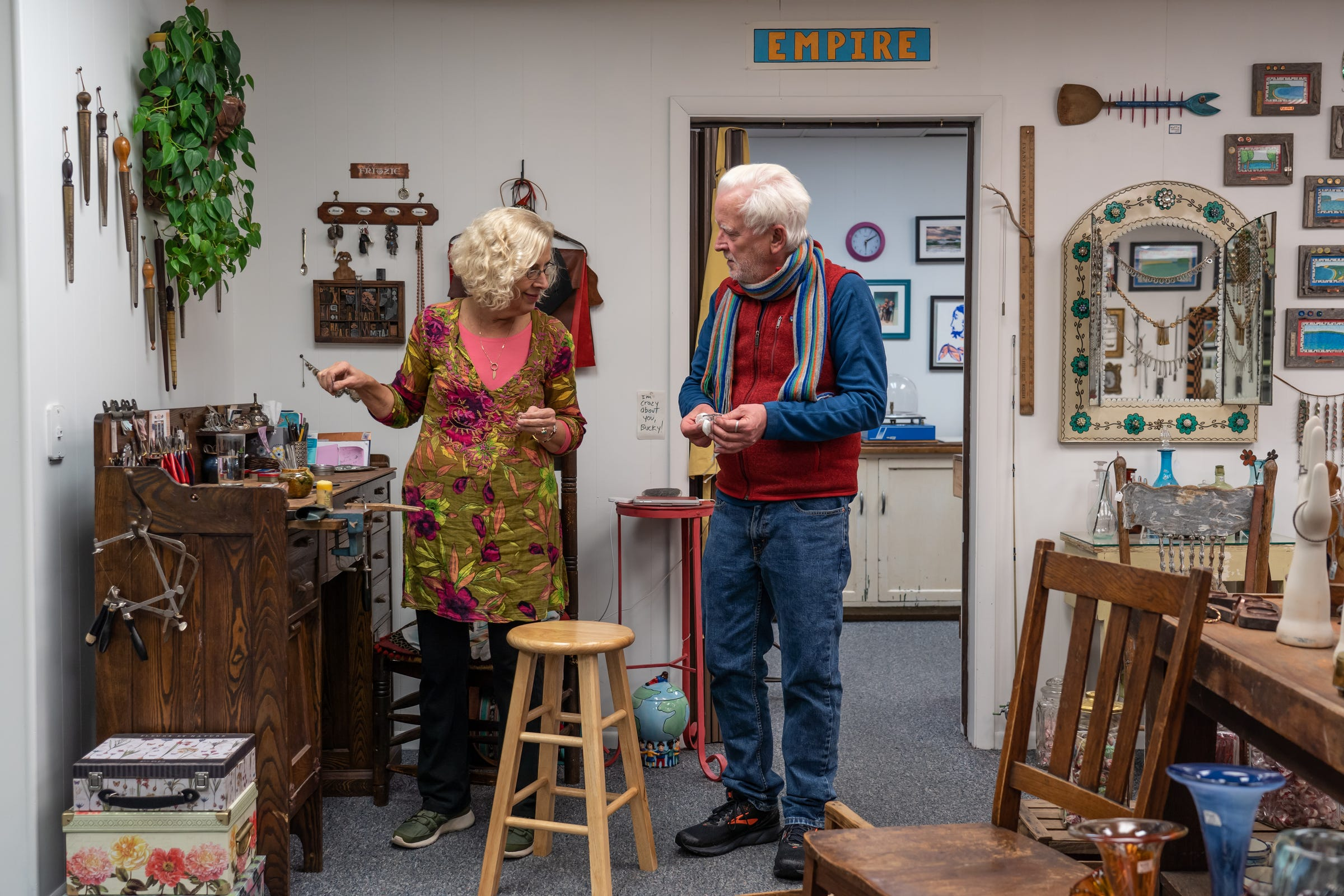 Becky Willis and Jim Hilton, owners of JoJo and Bucky Handmade in downtown Empire, talk inside their shop on Tuesday, Nov. 7, 2019.