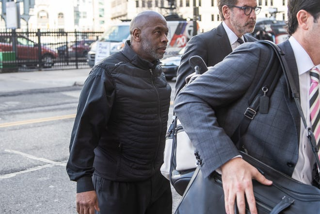 Former UAW director of Region 5 Vance Pearson walks into the federal courthouse in downtown Detroit for initial appearance, Tuesday, Nov. 26, 2019.