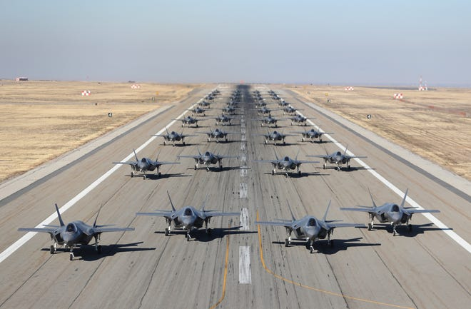 Hill Air Force Bases 388th and 419th fighter wings line up 36, F-35A's on the runway on November 19, 2018 in Hill Air Force Base, Utah.