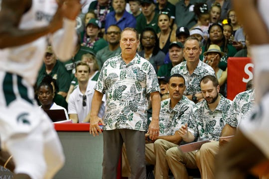 Michigan State coach Tom Izzo watches his team take on Georgia during the first half Tuesday, Nov. 26, 2019, in Lahaina, Hawaii.