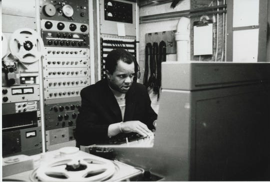 Berry Gordy Jr. inside the control room at Motown Records in Detroit.