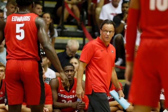 Georgia head coach Tom Crean speaks to his team during the first half against Michigan State, Tuesday, Nov. 26, 2019, in Lahaina, Hawaii.