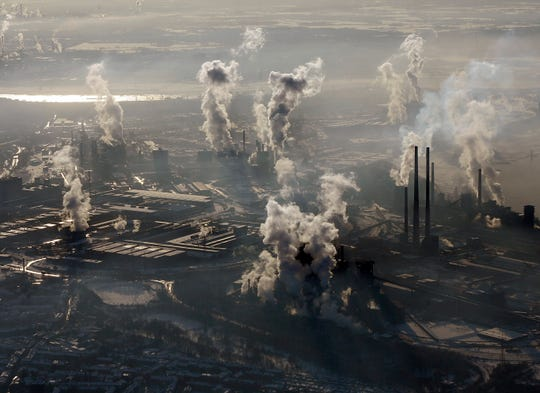 An aerial view of the steel company ThyssenKrupp in Duisburg, western Germany.