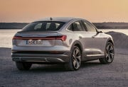 Audi is staying consistently true to its strategic alignment by presenting the second model in its e-tron product line. The Audi e-tron Sportback is a dynamic SUV coupé offering up to 300 kW of power and a range of up to 446 kilometers (277.1 miles) ( in the WLTP cycle) from a single battery charge.