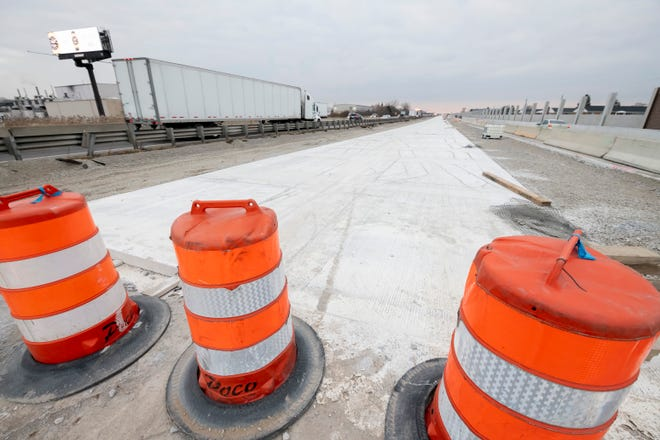 This is a view of a half-mile section of  concrete pavement along northbound I-75 between 13 Mile and 14 Mile roads in Royal Oak on Tuesday, November 26, 2019.  Construction crews recently discovered that the newly poured section of the freeway was mixed incorrectly and will need to be replaced in the spring.